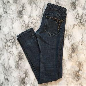 Free People Dark Wash Studded Skinny Jeans size 25